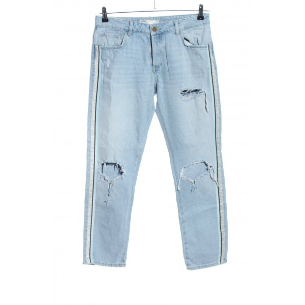 Zara High Waist Jeans blau-schwarz Glanz-Optik
