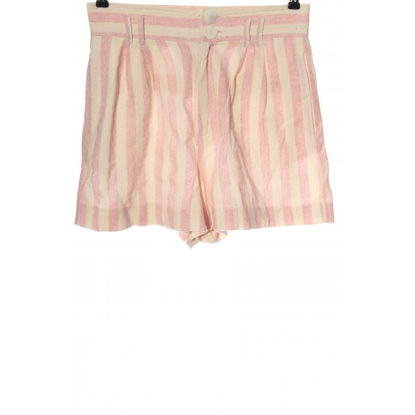 Zara High-Waist-Shorts creme-pink Streifenmuster Casual-Look