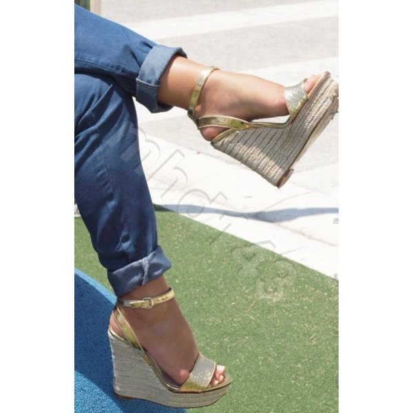 Zara Basic Wedge Sandals gold-colored leather
