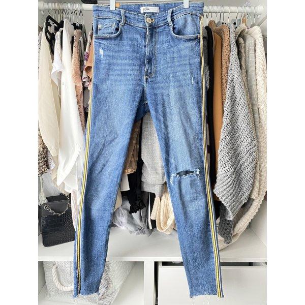 Zara highwaist Jeans mit Kontraststreifen