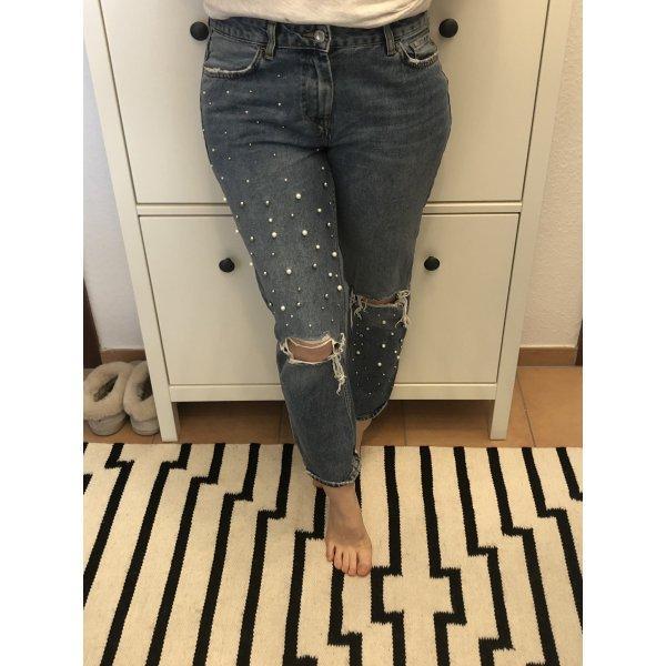 Zara highwaist Jeans Perlen blogger