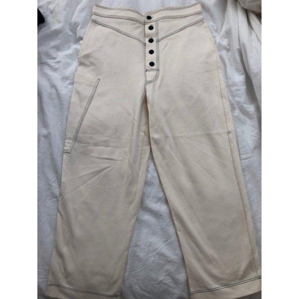Zara Pantalone largo bianco sporco
