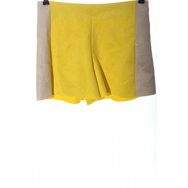 Zara Hot Pants blassgelb-wollweiß Casual-Look