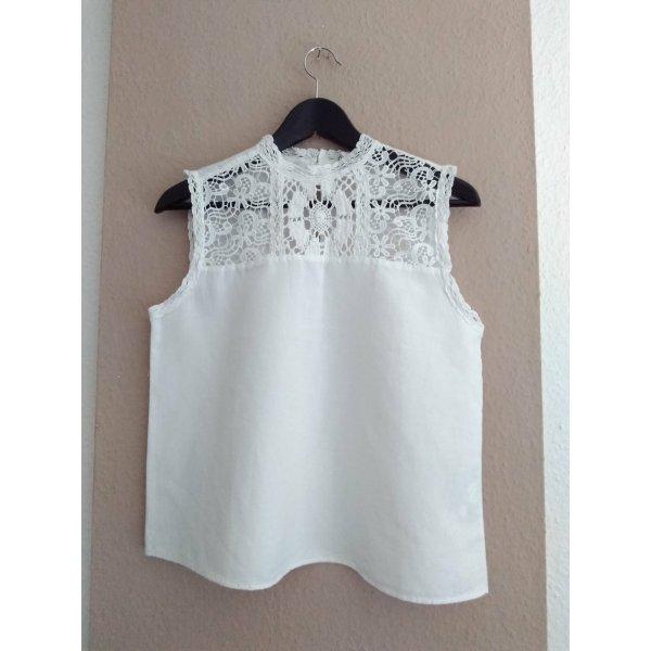 Zara hübsche Bluse mit Lochstickerei aus Baumwolle und Leinen, Grösse M, neu