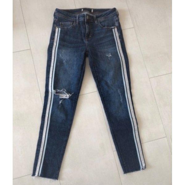 Zara Jeans mit Glitzer Silber streifen hellblau