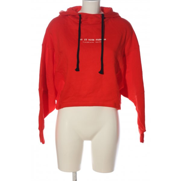 Zara Kapuzensweatshirt rot-weiß Schriftzug gedruckt Casual-Look