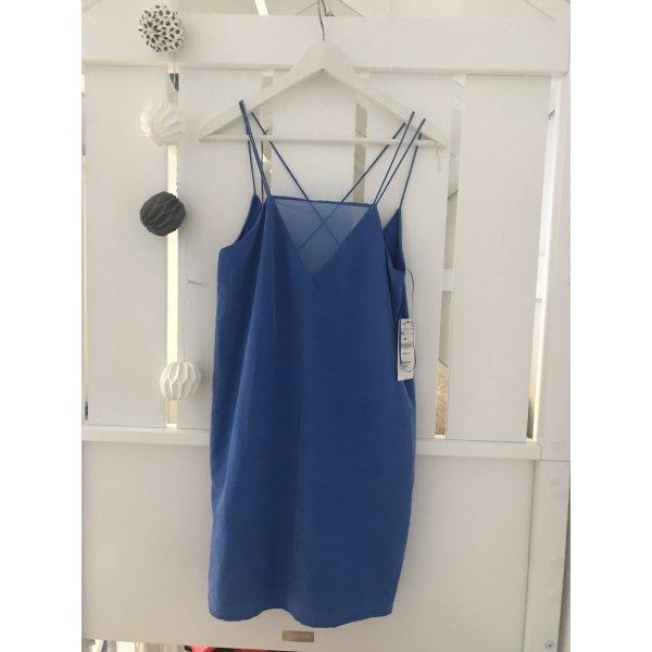 Zara Vestido a media pierna azul neón