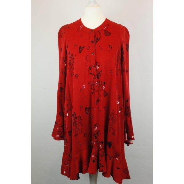 Zara Kleid Blusenkleid Volantkleid Gr. XS rot Herzen oversized