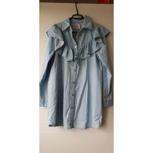 Zara Kleid Jeans Jeanskleid Minikleid mit Volant M