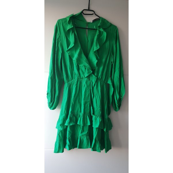 Zara Kleid mit Volant Minikleid grün boohoo