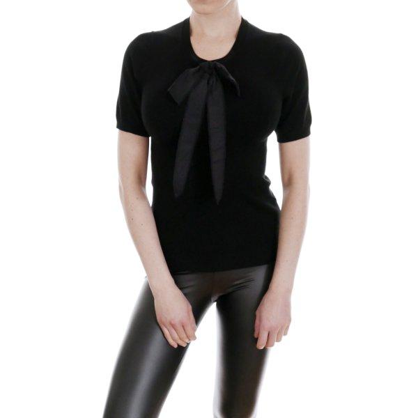 ZARA Knit Kurzarm Pullover Top Shirt Schleife Viskose – XS/S