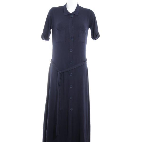 Zara Knit Kurzarmkleid dunkelblau Casual-Look