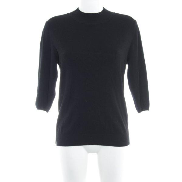 Zara Knit Sweater met korte mouwen zwart casual uitstraling