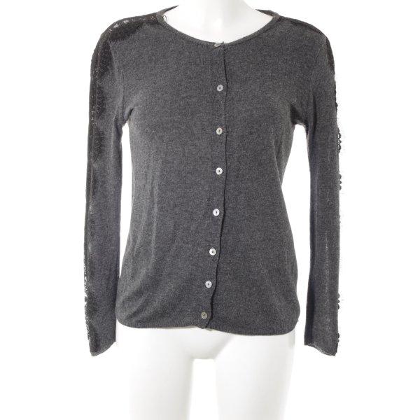 Zara Knit Strick Cardigan anthrazit-schwarz Street-Fashion-Look