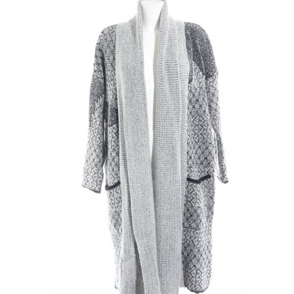 Zara Knit Strick Cardigan weiß-dunkelblau meliert Kuschel-Optik