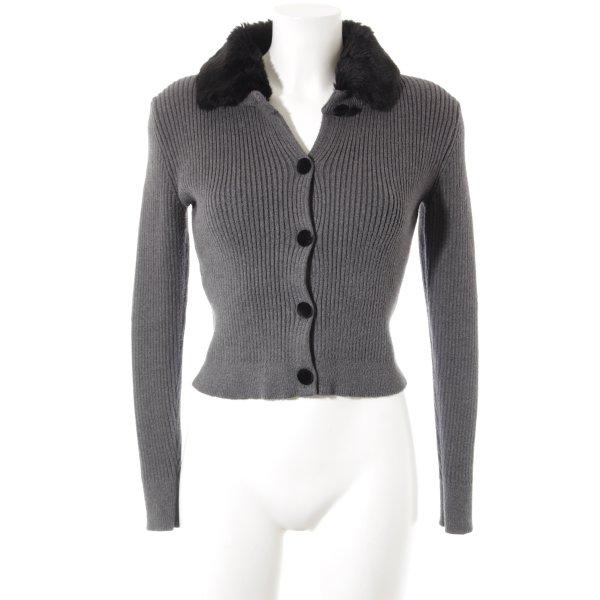 Zara Knit Strickjacke grau-schwarz Casual-Look