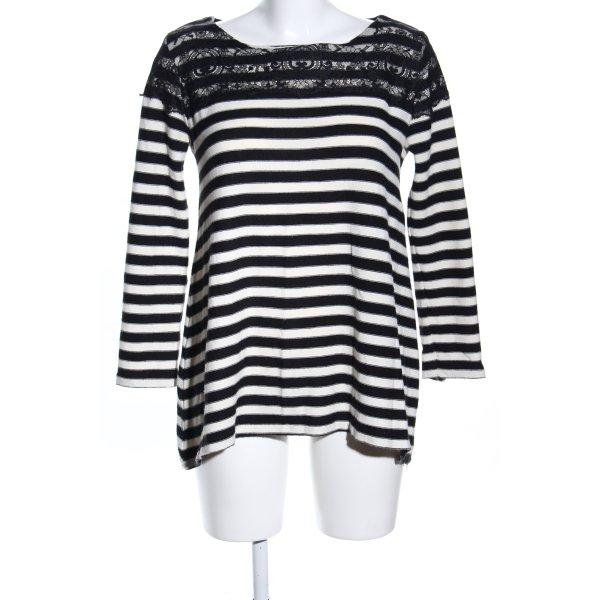 Zara Knit Strickpullover schwarz-weiß Streifenmuster Casual-Look
