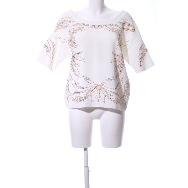 Zara Kurzarm-Bluse weiß-bronzefarben Casual-Look