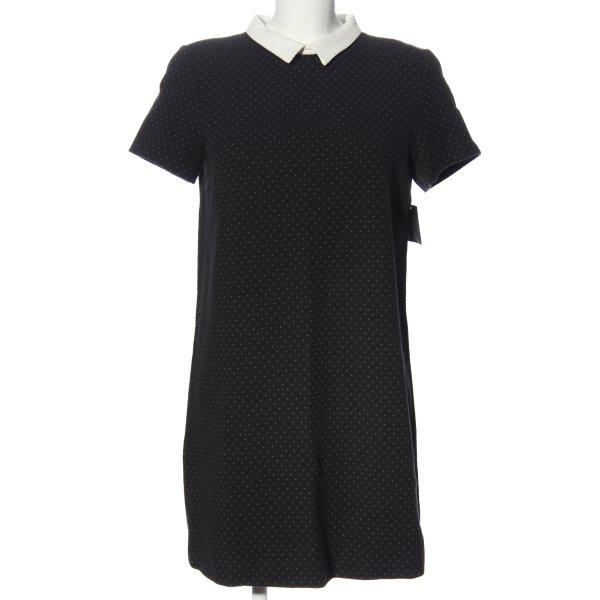 Zara Kurzarmkleid schwarz-weiß Allover-Druck Business-Look