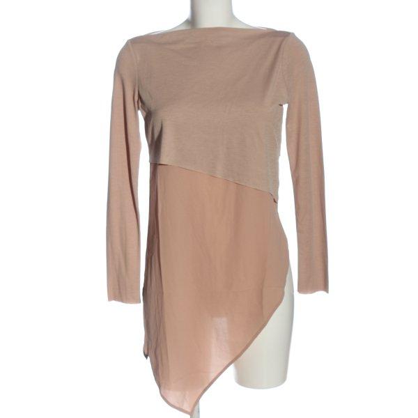 Zara Langarm-Bluse nude Casual-Look
