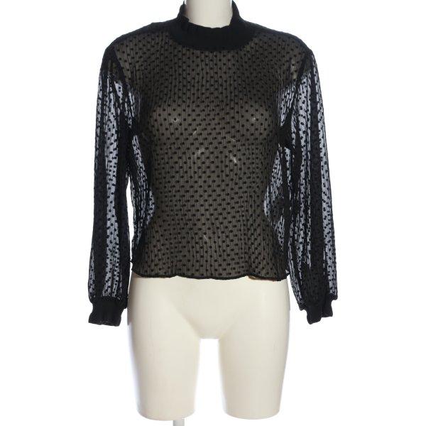 Zara Langarm-Bluse schwarz Punktemuster Business-Look