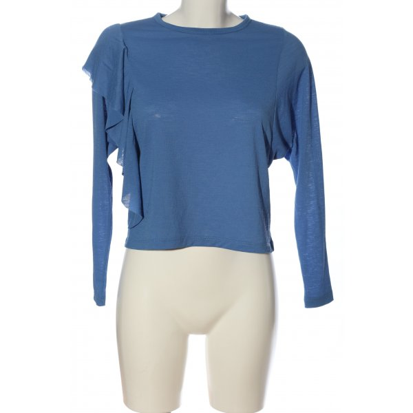 Zara Langarm-Bluse blau Casual-Look