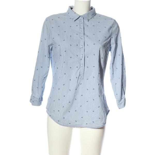 Zara Langarmhemd blau-weiß Motivdruck Casual-Look