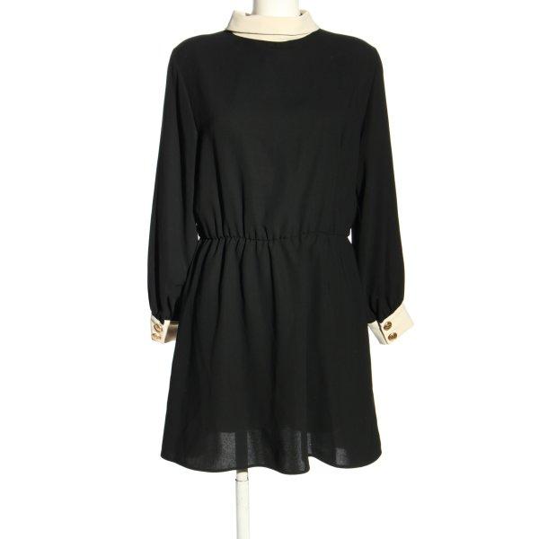 Zara Langarmkleid schwarz-wollweiß Elegant