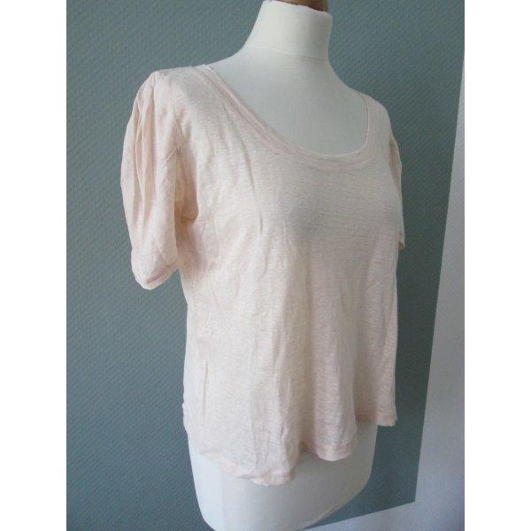 Zara Leinen T-Shirt mit drapierten Ärmeln Gr.M