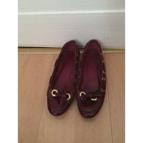 Zara Patent Leather Ballerinas bordeaux