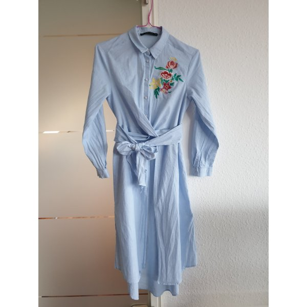 Zara Long-Hemd/Bluse blau Blumenmuster