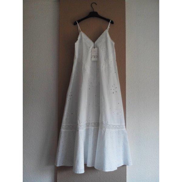 Zara Midi-Trägerkleid mit Lochstickerei in wollweiß, 100% Biobaumwolle, Größe XS-S, neu