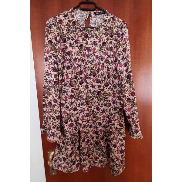 Zara Minikleid Kleid Tunika Bluse Shirt Langarm Blumen Blümchen geblümt