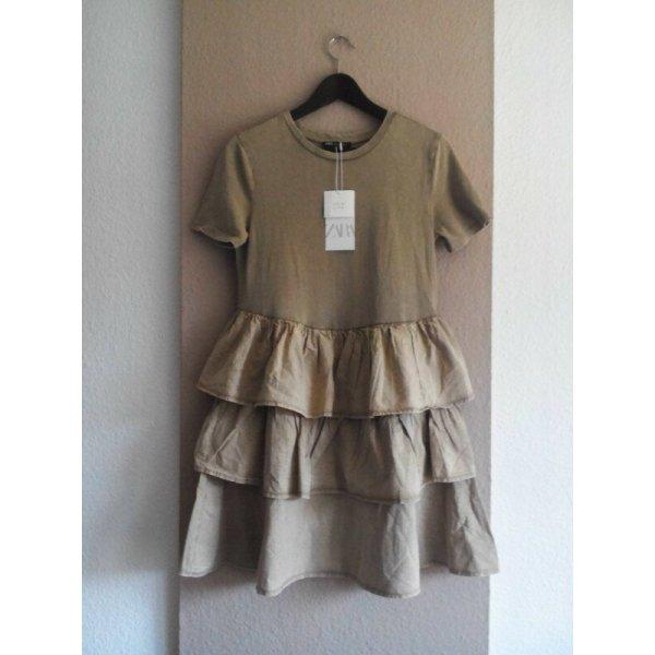 Zara Minikleid mit Volants aus Baumwolle, Grösse M, neu