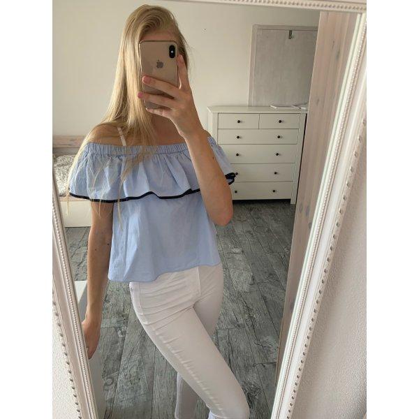 Zara off shoulder Bluse Shirt hellblau mit Schleife