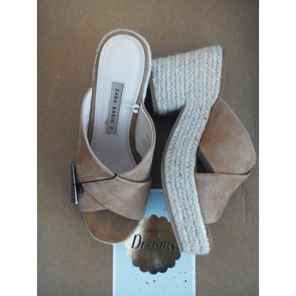 Zara Plateau-Sandalen aus echtem Veloursleder mit Kailabsatz, Größe 36, neu