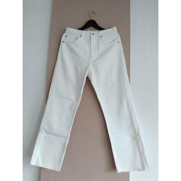 Zara Premium Qualität gerade geschnittene Jeans in off white mit hohem Bund, Grösse 40, neu