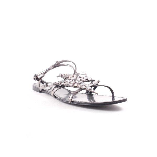 Zara Sandales à lanière gris-argenté style décontracté