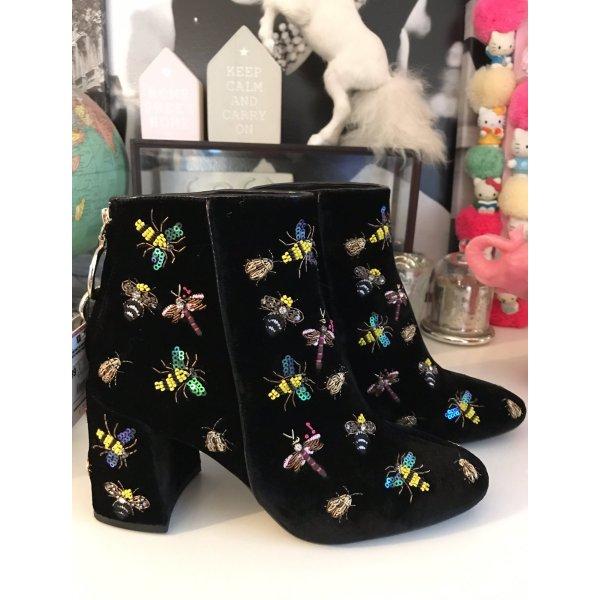 Zara Samt Stiefelette Boots Stickerei 39