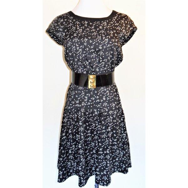 Zara Satin Kleid schwarz/weiß Gr.34 S M