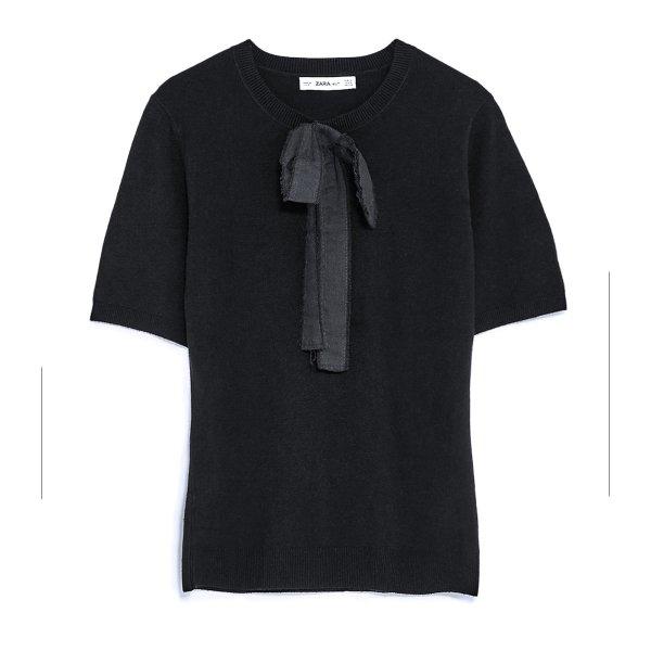 ZARA Schleifen Kurzarm Pullover Feinstrick + Schleife black – XS