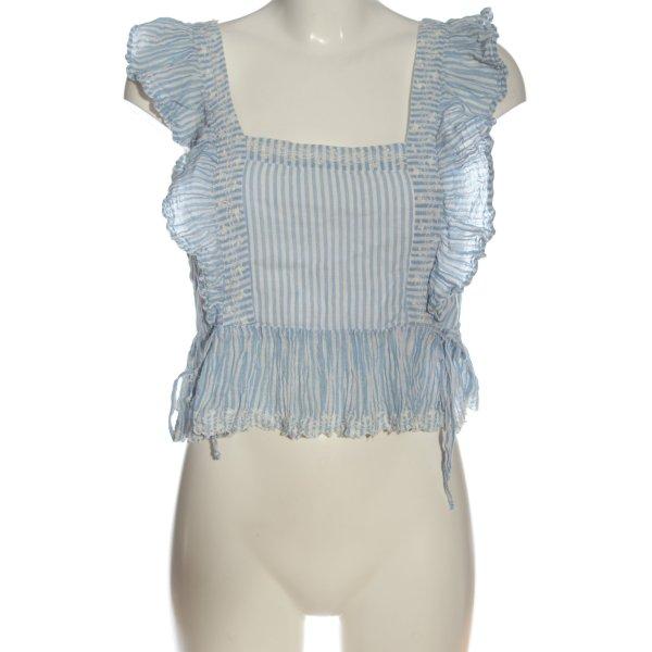 Zara Schlupf-Bluse weiß-blau Streifenmuster Casual-Look