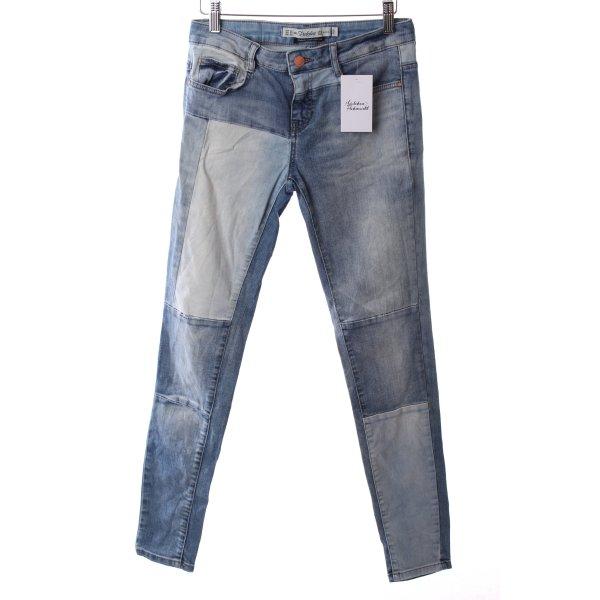 Zara Skinny Jeans blau-hellblau Patchwork-Optik