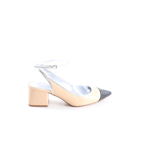 Zara Slingback-Pumps creme-schwarz Casual-Look