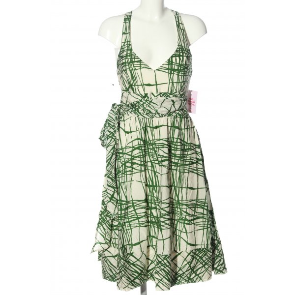 Zara Sommerkleid wollweiß-grün abstraktes Muster Elegant