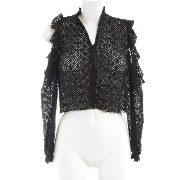Zara Spitzenbluse schwarz extravaganter Stil