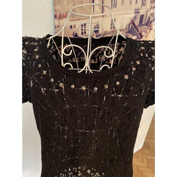 Zara Spitzenshirt mit Nieten, schwarz, S-M