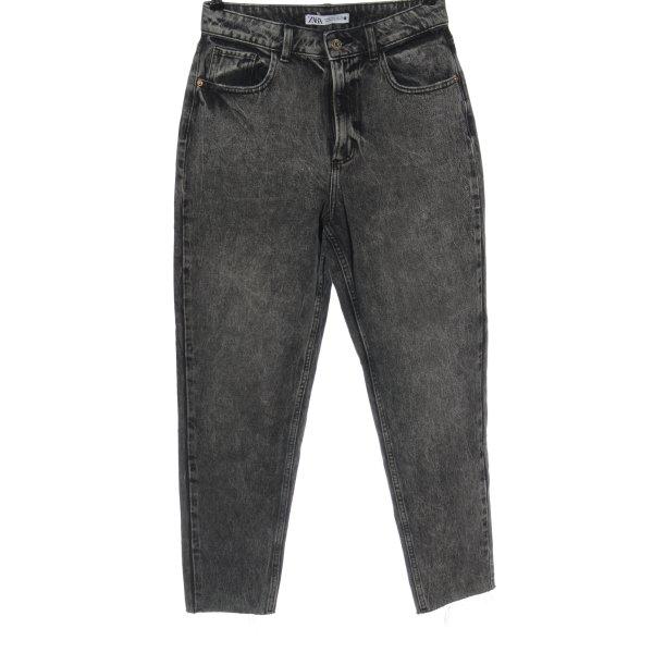 Zara Straight-Leg Jeans hellgrau meliert Casual-Look