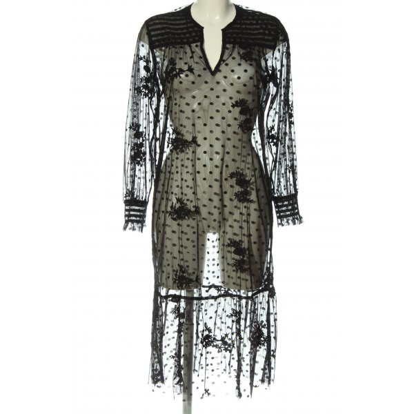 Zara Strandbekleidung schwarz Punktemuster Casual-Look