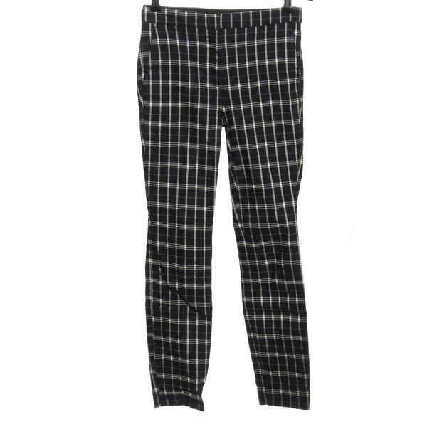 Zara Stretchhose schwarz-weiß Karomuster Casual-Look